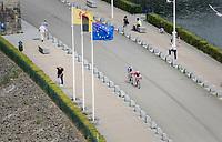 race leaders José Gonçalves (POR/Katusha-Alpecin) & Laurens De Plus (BEL/QuickStep Floors) over the Gileppe Dam<br /> <br /> Ster ZLM Tour (2.1)<br /> Stage 4: Hotel Verviers > La Gileppe (Jalhay)(190km)