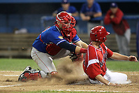 Auburn Doubledays catcher Spencer Kieboom #16 tags out a base runner during a game against the Batavia Muckdogs at Dwyer Stadium on June 18, 2012 in Batavia, New York.  Auburn defeated Batavia 6-5.  (Mike Janes/Four Seam Images)