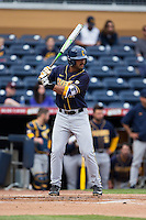 Devin Pearson (27) of the California Golden Bears at bat against the Duke Blue Devils at Durham Bulls Athletic Park on February 20, 2016 in Durham, North Carolina.  The Blue Devils defeated the Golden Bears 6-5 in 10 innings.  (Brian Westerholt/Four Seam Images)