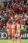 Liverpool FC forward Dominic Solanke (L) celebrates with teammates during the Premier League Asia Trophy match between Liverpool FC and Crystal Palace FC at Hong Kong Stadium on 19 July 2017, in Hong Kong, China. Photo by Weixiang Lim / Power Sport Images