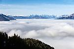 Austria, Tyrol, Kitzbuehel: view from Kitzbueheler Horn mountain towards Tyrolean Alps | Oesterreich, Tirol, Kitzbuehel: Blick vom Kitzbueheler Horn zum Tiroler Alpenhauptkamm