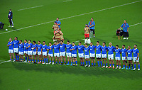 The Samoa team lines up before the international rugby match between Manu Samoa and the Maori All Blacks at Sky Stadium in Wellington, New Zealand on Saturday, 26 June 2021. Photo: Dave Lintott / lintottphoto.co.nz