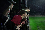 Congleton Town 1 Coventry United 1 (Pens 4-3), 19/12/2020. Ivy Gardens, FA Vase Third Round. Visiting supporters watching the penalty shoot-out as Congleton Town play Coventry United. The home team were founded in 1901 and played in the North West Counties League Premier Division. They defeated their opponents from the Midland League Premier Division 4-3 on penalties after the match ended 1-1, watched by 300 spectators, the maximum permitted under Covid-19 restrictions. Photo by Colin McPherson.