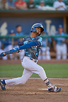Jeremy Arocho (8) of the Ogden Raptors at bat against the Rocky Mountain Vibes at Lindquist Field on July 5, 2019 in Ogden, Utah. The Raptors defeated the Vibes 6-4. (Stephen Smith/Four Seam Images)