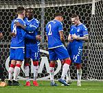 26.02.2020 SC Braga v Rangers: James Tavernier and Ryan Kent celebrate