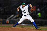 Jace Vines (29) of the Lexington Legends with the North team pitches during the South Atlantic League All-Star Game on Tuesday, June 20, 2017, at Spirit Communications Park in Columbia, South Carolina. The game was suspended due to rain after seven innings tied, 3-3. (Tom Priddy/Four Seam Images)