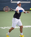 Kei Nishikori (JPN) defeats Leonardo Mayer (ARG) 6-4, 6-4 at the Citi Open in Washington, DC,  on August 6, 2015.