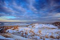 Coastal Sand Dunes, covered in winter snow, Island Beach & Atlantic Ocean, New Jersey