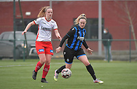 Celien Guns (10) of Club Brugge and Lotte De Wilde (19) of Zulte-Waregem pictured during a female soccer game between SV Zulte - Waregem and Club Brugge YLA on the 13 th matchday of the 2020 - 2021 season of Belgian Scooore Womens Super League , saturday 6 th of February 2021  in Zulte , Belgium . PHOTO SPORTPIX.BE   SPP   DIRK VUYLSTEKE