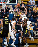 Robert Thurman of California rebounds the ball during the game against Oregon at Haas Pavilion in Berkeley, California on February 16th, 2012.  California defeated Oregon, 86-83.