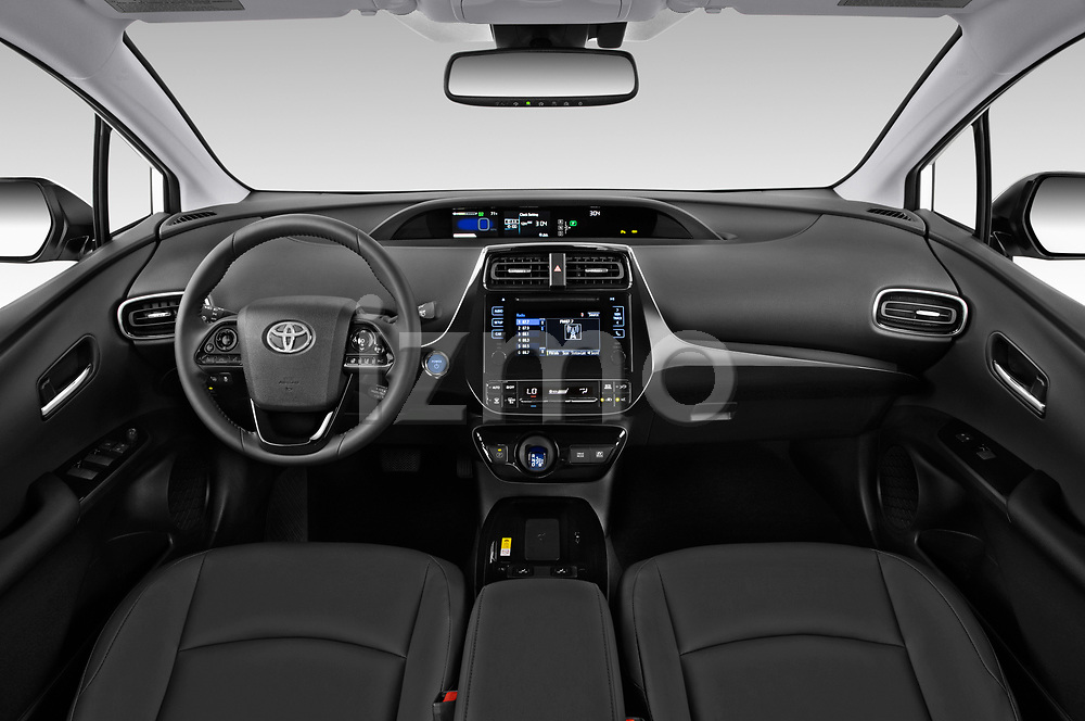 Stock photo of straight dashboard view of a 2019 Toyota Prius XLE 5 Door Hatchback