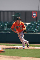 Baltimore Orioles first baseman Andrew Daschbach (61) during a Minor League Spring Training game against the Detroit Tigers on April 14, 2021 at Joker Marchant Stadium in Lakeland, Florida.  (Mike Janes/Four Seam Images)