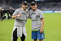 LOS ANGELES, CA - OCTOBER 29: Brother Alex Roldan and Cristian Roldan #7 of the Seattle Sounders FC celebrate their MLS Western Conference victory over Los Angeles FC during a game between Seattle Sounders FC and Los Angeles FC at Banc of California Stadium on October 29, 2019 in Los Angeles, California.