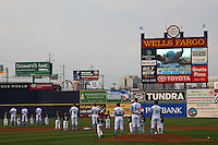 Wilmington Blue Rocks during the national anthem before a game against the Lynchburg Hillcats at Frawley Stadium on May 3, 2011 in Wilmington, Delaware.  Lynchburg defeated Wilmington by the score of 11-1.  Photo By Mike Janes/Four Seam Images