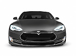 Gray 2017 Tesla Model S luxury electric car front view isolated on white background with clipping path Image © MaximImages, License at https://www.maximimages.com