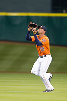 Houston Astros outfielder Rick Ankiel (28) tracks a fly ball during the MLB baseball game against the Detroit Tigers on May 3, 2013 at Minute Maid Park in Houston, Texas. Detroit defeated Houston 4-3. (Andrew Woolley/Four Seam Images).