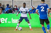 SAN JOSE, CA - AUGUST 13: Deiber Caicedo #7 of the Vancouver Whitecaps dribbles the ball during a game between San Jose Earthquakes and Vancouver Whitecaps at PayPal Park on August 13, 2021 in San Jose, California.