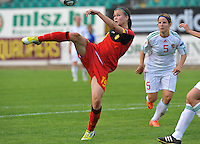 Hungary - Hongarije : UEFA Women's Euro Qualifying group stage (Group 3) - 20/06/2012 - 17:00 - szombathely  - : Hungary ( Hongarije ) - BELGIUM ( Belgie) : Anaelle Wiard scoort de 1-3 voor Belgie.foto DAVID CATRY / JOKE VUYLSTEKE / Vrouwenteam.be.