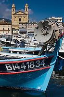 Europe/France/Corse/2B/Haute-Corse/Cap Corse/Nebbio/Bastia: Le Vieux Port - Pointu des pêcheurs et Eglise Saint-Jean-Baptiste