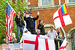 © Joel Goodman - 07973 332324 - all rights reserved . 01/05/2010 . Aylesbury , UK . JOHN SHAW (aka John Snowy Shaw) delivers a speech . The English Defence League ( EDL ) hold a demonstration in Aylesbury . Photo credit : Joel Goodman