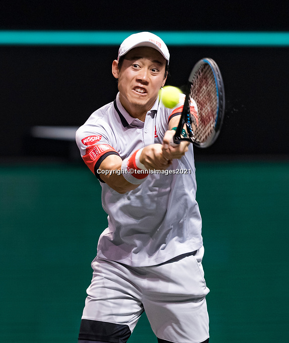 Rotterdam, The Netherlands, 3 march  2021, ABNAMRO World Tennis Tournament, Ahoy, First round match: Kei Nishikori (JPN).<br /> Photo: www.tennisimages.com/henkkoster