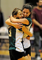 14 November 2010: Vermont Commons School Senior, and team co-captain Leynah McGarghan (right) celebrates with teammate Sarah Mueller during the 2010 Vermont State Volleyball Championships at Saint Michael's College in Colchester, Vermont. Participating schools included: the Enosburg Falls Hornets, the Lake Region Union Rangers, the Lyndon Institute Vikings, and the VCS Flying Turtles. The Girls Championship went to Vermont Commons School for the third consecutive year, while the Boys Championship went to Lake Region Union High School for the first time. Mandatory Credit: Ed Wolfstein Photo.