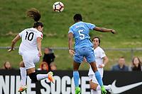 Piscataway, NJ - Sunday April 30, 2017: Yael Averbuch and Maya Hayes during a regular season National Women's Soccer League (NWSL) match between Sky Blue FC and FC Kansas City at Yurcak Field.