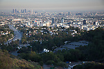 View of the Hollywood Bowl, Hollywood and Downtown LA from a Viewpoint on Mulholland Drive, Los Angeles, CA