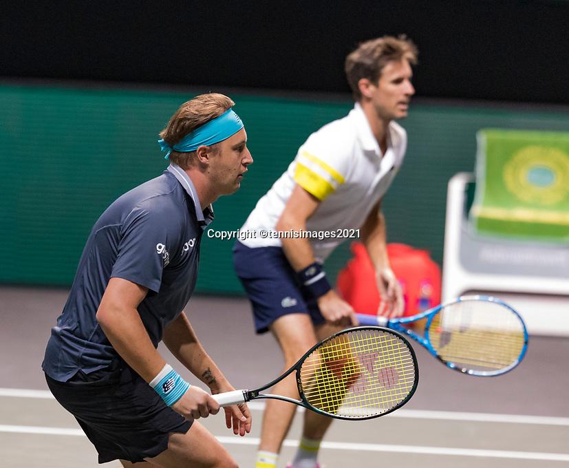 Rotterdam, The Netherlands, 5 march  2021, ABNAMRO World Tennis Tournament, Ahoy,  Quarter final: Henri Kotinen (FIN) / Edouard Roger-Vasselin (FRA).<br /> Photo: www.tennisimages.com/henkkoster