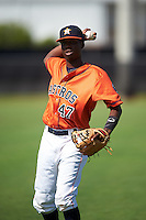 GCL Astros shortstop Joan Mauricio (47) during warmups before the first game of a doubleheader against the GCL Mets on August 5, 2016 at Osceola County Stadium Complex in Kissimmee, Florida.  GCL Astros defeated the GCL Mets 4-1 in the continuation of a game started on July 21st and postponed due to inclement weather.  (Mike Janes/Four Seam Images)