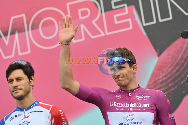 Maglia Ciclamino French Champion Arnaud Demare (FRA) Groupama-FDJ at sign on before the start of Stage 9 of the 103rd edition of the Giro d'Italia 2020 running 208km from San Salvo to Roccaraso (Aremogna), Sicily, Italy. 11th October 2020.  <br /> Picture: LaPresse/Gian Mattia D'Alberto   Cyclefile<br /> <br /> All photos usage must carry mandatory copyright credit (© Cyclefile   LaPresse/Gian Mattia D'Alberto)