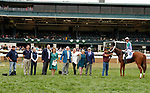 """October 09, 2019 : #6 Sweet Melania and jockey Jose Ortiz win the 29th running of the JPMorgan Chase Jessamine Grade 2 $200,000 """"Win and You're In Breeders' Cup Juvenile Fillies Turf Division"""" for owner Robert and Lawana Low and trainer Todd Pletcher at Keeneland Racecourse in Lexington, KY on October 09, 2019.  Candice Chavez/ESW/CSM"""