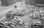 Pittsburgh PA:  View of the point area prior to the Gateway Center construction.  Eppy's parking lot at Liberty Avenue and Fancourt Street in Pittsburgh.  Pittsburgh Case Sales Company in Pittsburgh