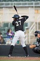 Micker Adolfo (27) of the Kannapolis Intimidators at bat against the Asheville Tourists at Kannapolis Intimidators Stadium on May 6, 2017 in Kannapolis, North Carolina.  The Intimidators walked-off the Tourists 7-6.  (Brian Westerholt/Four Seam Images)