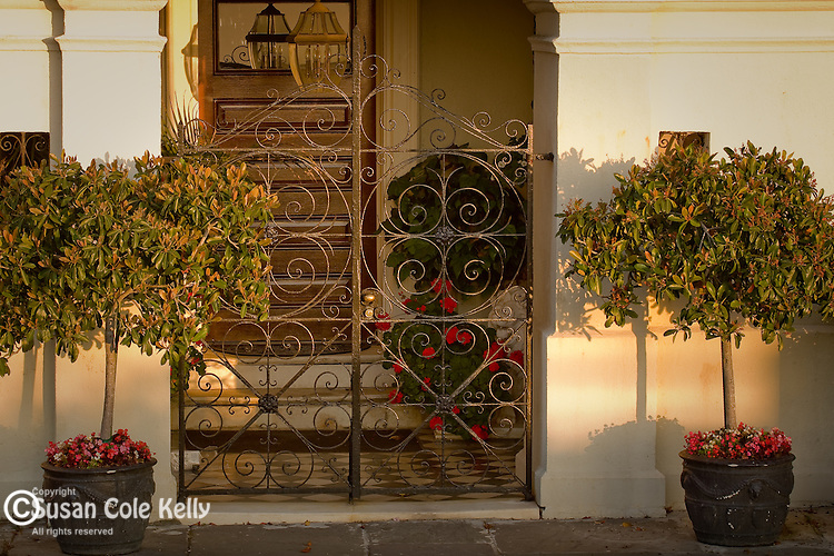 Ironwork adorns a doorway in The Battery district,  Charleston, SC, USA