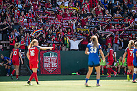 Seattle, WA - Saturday, August 26th, 2017: Portland Thorns FC fans celebrate during a regular season National Women's Soccer League (NWSL) match between the Seattle Reign FC and the Portland Thorns FC at Memorial Stadium.