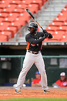 Norfolk Tides outfielder Trayvon Robinson #25 during a game against the Buffalo Bisons on May 9, 2013 at Coca-Cola Field in Buffalo, New York.  Norfolk defeated Buffalo 7-1.  (Mike Janes/Four Seam Images)