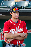 Steve Baron (24) of the Tacoma Rainiers before the game against the Salt Lake Bees in Pacific Coast League action at Smith's Ballpark on September 2, 2015 in Salt Lake City, Utah. Tacoma defeated Salt Lake 13-6.  (Stephen Smith/Four Seam Images)