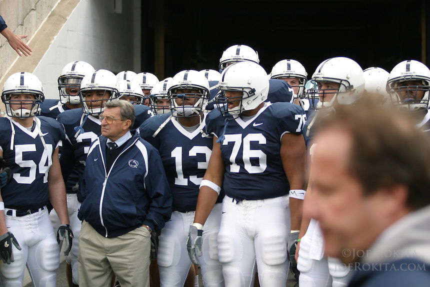 State College, PA - 10/21/2006 - Penn State offensive linemen Gerald Cadogan (76) stands with coach Joe Paterno and his other teammates before running out of the tunnel to start the game against the University of Illinois on October 21, 2006, at Beaver Stadium.  The Nittany Lions defeated the Illini 26-12...Photo credit: Joe Rokita / JoeRokita.com