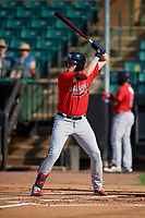 Mississippi Braves Greyson Jenista (18) at bat during a Southern League game against the Jackson Generals on July 23, 2019 at The Ballpark at Jackson in Jackson, Tennessee.  Jackson defeated Mississippi 2-0 in the first game of a doubleheader.  (Mike Janes/Four Seam Images)