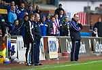 Kilmarnock v St Johnstone..24.11.12      SPL.Kenny Shiels refuses to go the stands after being sent off.Picture by Graeme Hart..Copyright Perthshire Picture Agency.Tel: 01738 623350  Mobile: 07990 594431
