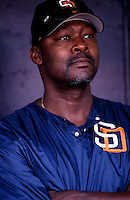 San Diego Padres pitching coach Dave Stewart participates in a baseball game at Qualcomm Stadium during the1998 season in San Diego, California. (Larry Goren/Four Seam Images)