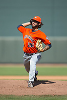 Buies Creek Astros relief pitcher Ralph Garza (26) in action against the Winston-Salem Dash at BB&T Ballpark on April 16, 2017 in Winston-Salem, North Carolina.  The Dash defeated the Astros 6-2.  (Brian Westerholt/Four Seam Images)
