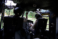 Canadian army helicopter pilots  , during the United Nation<br /> 1997 peace mission in Haiti.<br /> <br /> Les soldats de l'armÈe Canadienne durant la mission de paix de l'ONU en 1997 en Haiti.<br /> <br /> photo : (c)  Images Distribution