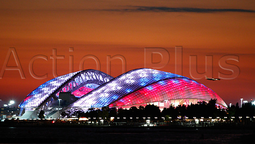 30th June 2017, Sochi, Russia;  Exterior view at dusk of the Olympic Stadium of Fisht (Sochi Olympic), one of the venues for the 2018 World Cup football finals
