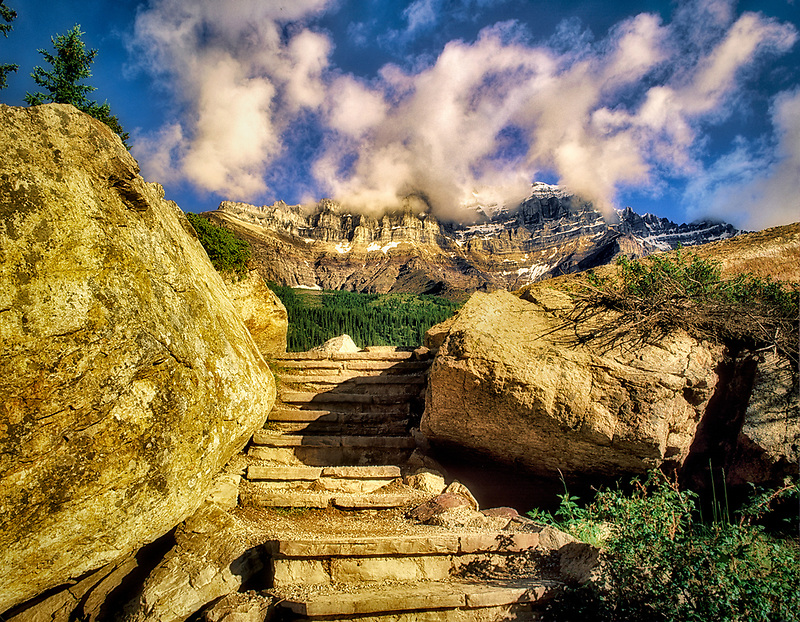 Step trail near Moraine Lake with Pinnacle Mountain. Banff National Park, Canada