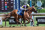 July 24,2020:  Irish Constitution ridden by Joel Rosario battles Party at Pages ridden by Luis Saez during the 5th race on Quick Call day at Saratoga Race Course in Saratoga Springs, New York. Rob Simmons/Eclipse Sportswire/CSM