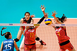 Di Yao (C) and Yuanyuan Wang of China (R) blocks Antonela Fortuna of Argentina (L) during the FIVB Volleyball Nations League Hong Kong match between China and Argentina on May 29, 2018 in Hong Kong, Hong Kong. Photo by Marcio Rodrigo Machado / Power Sport Images