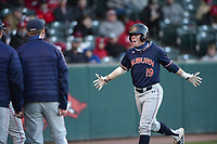 Auburn second baseman Brody Moore is congratulated Thursday, April 1, 2021, after hitting a solo home run during the third inning of play against Auburn at Baum-Walker Stadium in Fayetteville. Visit nwaonline.com/210402Daily/ for today's photo gallery. <br /> (NWA Democrat-Gazette/Andy Shupe)