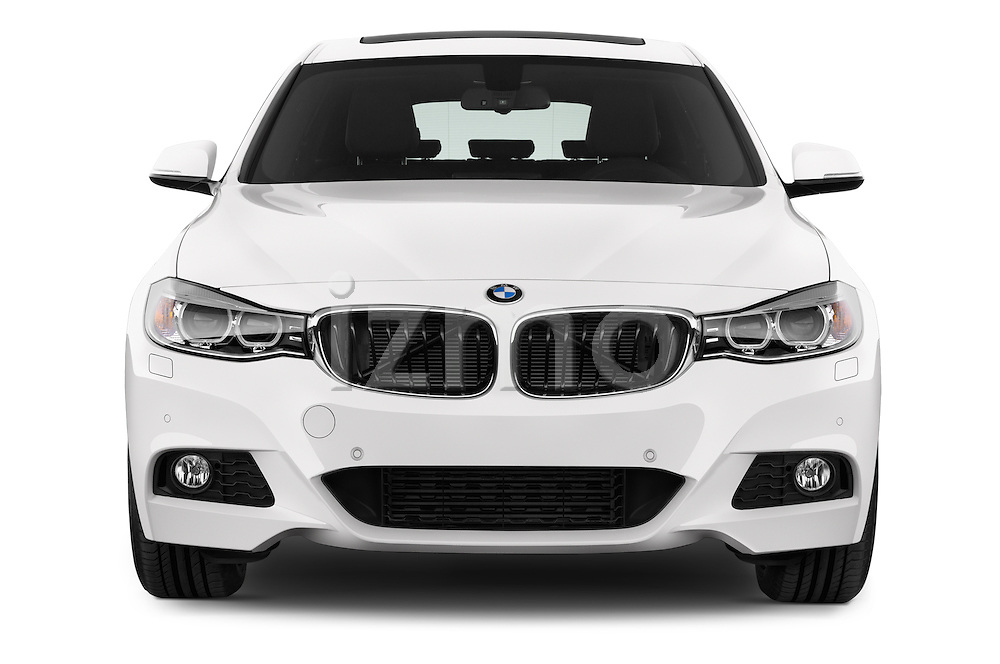Car photography straight front view of a 2015 BMW 3 Series M Sport 5 Door Hatchback 2WD Front View